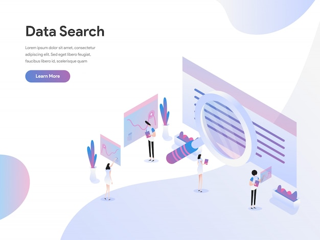 Wyszukiwanie danych izometryczne ilustracja koncepcja