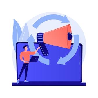 Wyszukiwanie docelowych odbiorców, promocja w internecie, orientacja na klienta. kierunek reklamy, kampania reklamowa, pozyskiwanie klientów. postać z kreskówki menedżera klienta