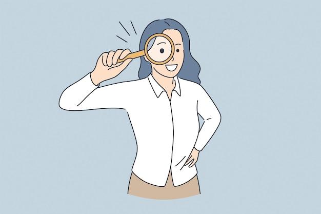 Wyszukiwanie koncepcji badań i badań. młoda uśmiechnięta kobieta postać z kreskówki stojąca trzymając szkło powiększające nad oczami, czując ciekawą ilustrację wektorową