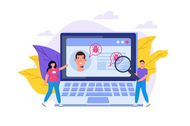 Wyszukiwanie lub skanowanie podatności i błędów, znajdowanie koncepcji złośliwego oprogramowania. ilustracja wektorowa.