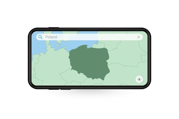 Wyszukiwanie mapy polski w aplikacji mapowej na smartfona. mapa polski w telefonie komórkowym.