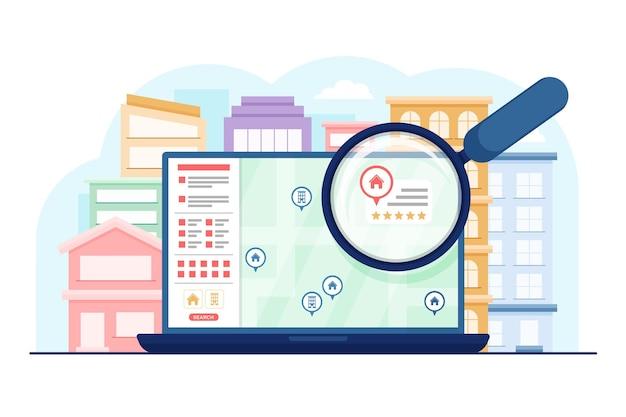 Wyszukiwanie nieruchomości na laptopie