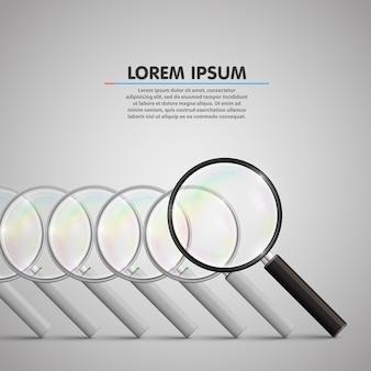 Wyszukiwanie obiektów szkła powiększającego. ilustracja wektorowa