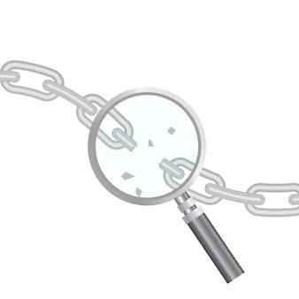 Wyszukiwanie podatności. optymalizacja seo, analityka internetowa, elementy procesu programowania. koncepcja bezpieczeństwa it. ilustracja. lupa i podarty łańcuch