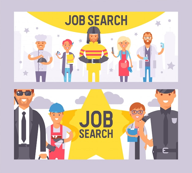 Wyszukiwanie pracy zestaw bannerów wektorowych ilustracji. ludzie różnych zawodów. dzień pracy. ludzie zawód znaków pracy w profesjonalnym mundurze