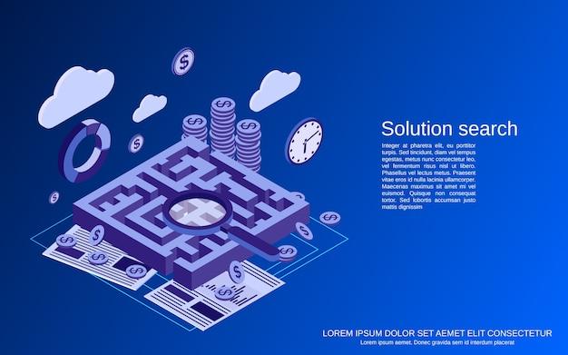 Wyszukiwanie rozwiązania, ilustracja koncepcja płaskiego izometrycznego labiryntu