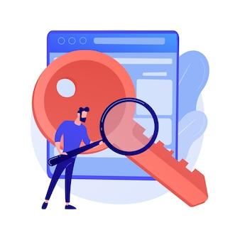 Wyszukiwanie słów kluczowych. seo, content marketing na białym tle płaski element. rozwiązanie biznesowe, strategia, planowanie. człowiek posiadający lupę i klucz ilustracja koncepcja