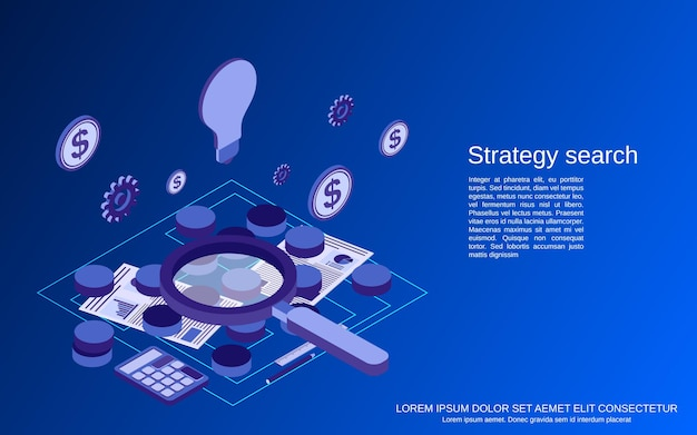 Wyszukiwanie strategii, wybór rozwiązania, ilustracja koncepcja płaskiej izometrycznej misji biznesowej