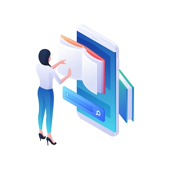 Wyszukiwanie żądanej książki internetowej na ilustracji izometrycznej aplikacji mobilnej. postać kobieca przegląda magazyn internetowy w smartfonie z paskiem wyszukiwania. koncepcja szkolenia wiedzy o internecie.