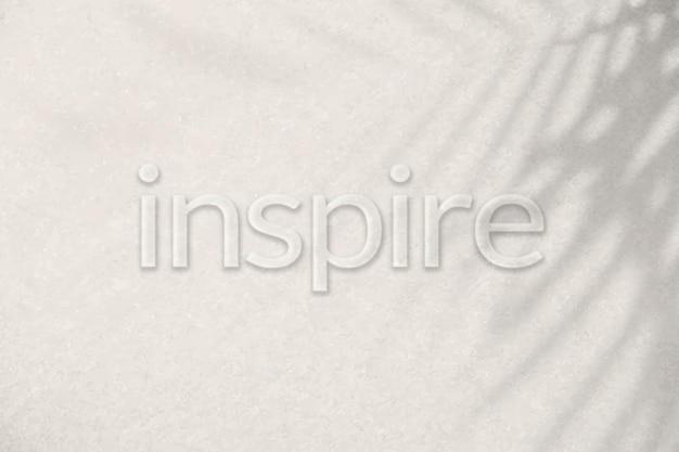 Wytłaczana czcionka typograficzna word inspire