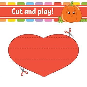 Wytnij i graj. puzzle logiczne dla dzieci. arkusz rozwijający edukację.