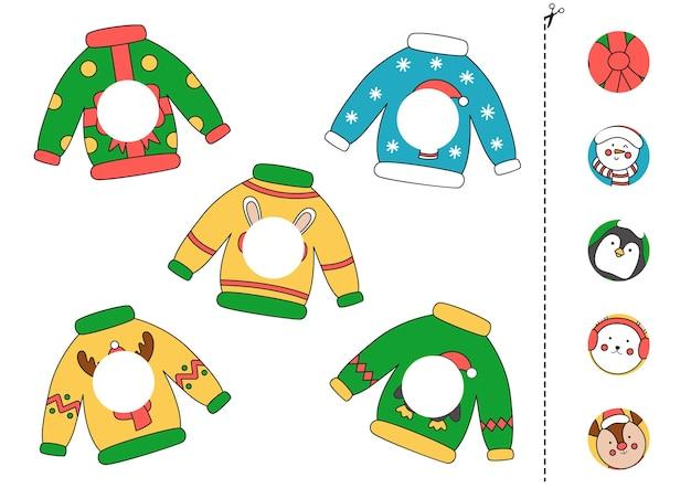 Wytnij i przyklej części świątecznych swetrów.