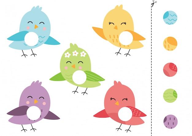 Wytnij i przyklej grę logiczną dla dzieci. kolorowe ptaki.