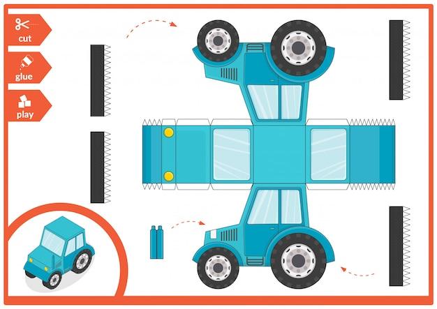 Wytnij i przyklej papierową ilustrację samochodową.