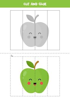 Wytnij i przyklej słodkie zielone jabłko kawaii. gra edukacyjna dla dzieci. nauka cięcia. puzzle dla dzieci.