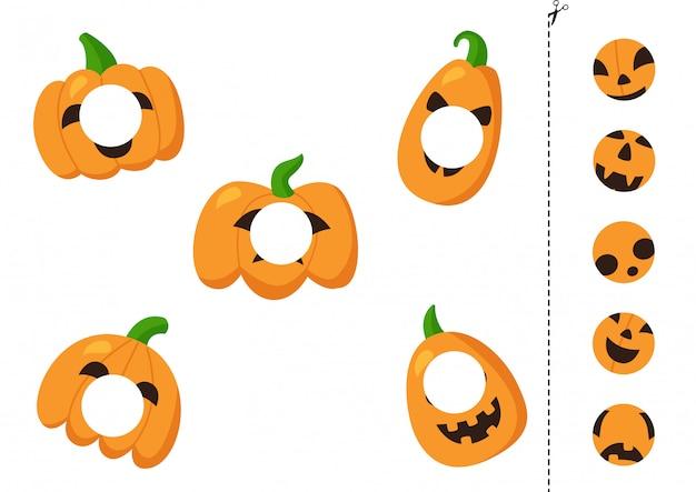 Wytnij i przyklej śmieszne dynie na halloween. gra dla dzieci.