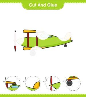 Wytnij i przyklej wycięte części samolotu i przyklej je arkusz do wydrukowania z grami edukacyjnymi dla dzieci