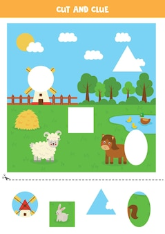 Wytnij i sklej części obrazu. krajobraz gospodarstwa. ćwiczenie cięcia dla przedszkolaków.