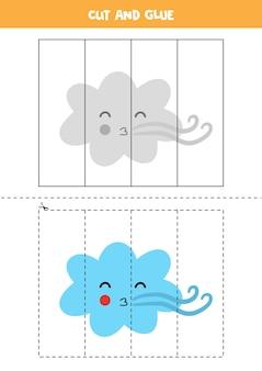 Wytnij i sklej grę dla dzieci z chmurą wiatru. praktyka cięcia dla przedszkolaków.