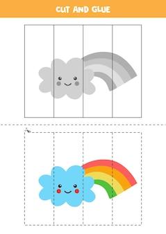Wytnij i sklej grę dla dzieci z uroczą tęczową chmurą. ćwiczenie cięcia dla przedszkolaków.