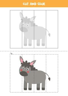 Wytnij i sklej grę dla dzieci z uroczym osłem. ćwiczenie cięcia dla przedszkolaków.