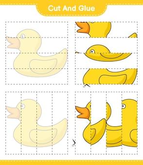 Wytnij i sklej wycięte części rubber duck i przyklej je arkusz do wydrukowania z grami edukacyjnymi dla dzieci