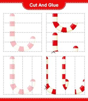 Wytnij i sklej, wytnij części cukierków i przyklej je. gra edukacyjna dla dzieci, arkusz do druku
