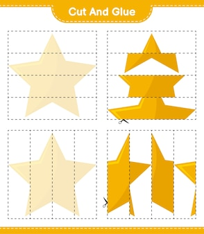 Wytnij i sklej, wytnij części gwiazd i przyklej je. gra edukacyjna dla dzieci, arkusz do druku
