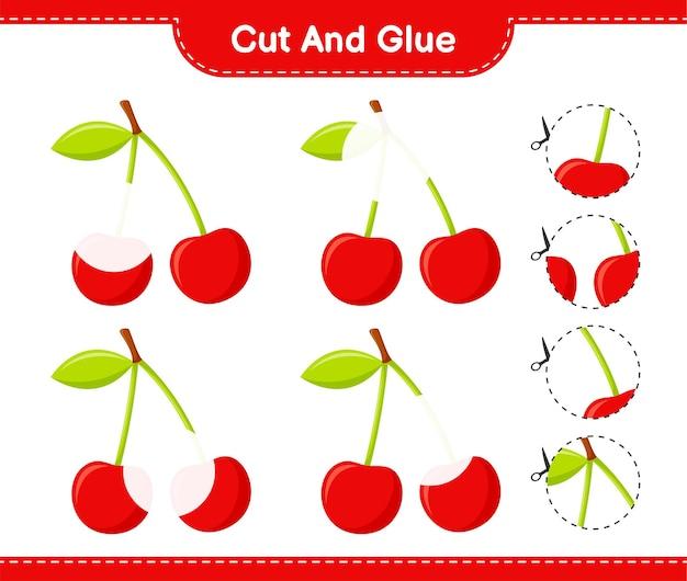 Wytnij i sklej, wytnij części wiśni i przyklej je. gra edukacyjna dla dzieci, arkusz do druku