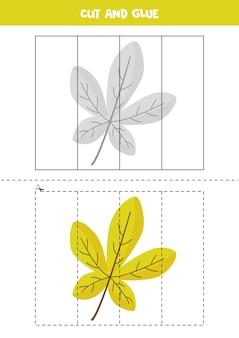 Wytnij i wklej grę dla dzieci. edukacyjne puzzle logiczne dla przedszkolaków. ćwiczenia dla dzieci. ilustracja liści jesienią w stylu cartoon.