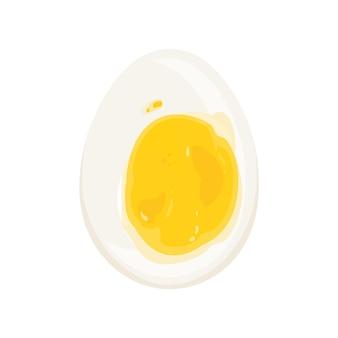 Wytnij jajko na miękko ilustracja. białko i żółtko. zdrowy artykuł żywieniowy, produkt dietetyczny