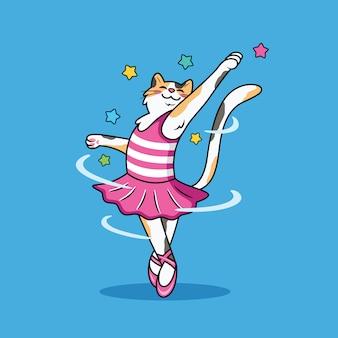 Wytnij kot kreskówka robi balet ze słodkim uśmiechem