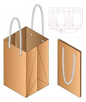 Wytnij szablon opakowania papierowej torby
