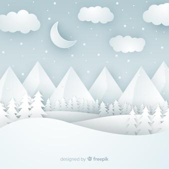 Wytnij tło zimowego krajobrazu