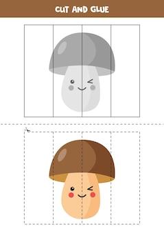 Wytnij zdjęcie słodkiego grzyba kawaii i wklej go częściami. edukacyjna gra logiczna dla dzieci. puzzle dla przedszkolaków.