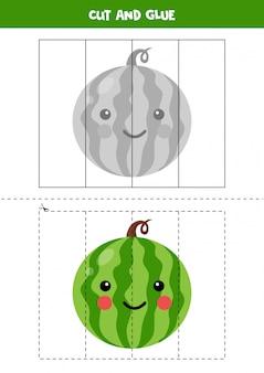 Wytnij zdjęcie uroczego arbuza kawaii i wklej go.