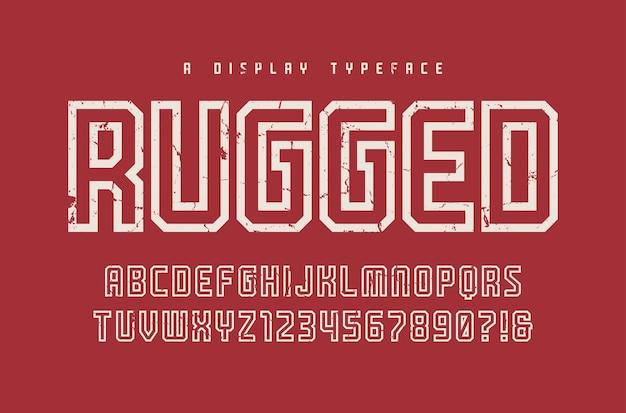 Wytrzymały krój, czcionka, wielkie litery i cyfry, alfabet, typografia. globalne próbki