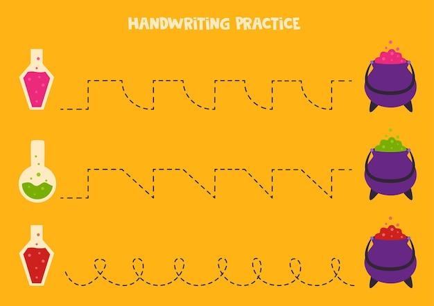 Wytyczanie linii z miksturami i kociołkiem. ćwiczenie pisania.