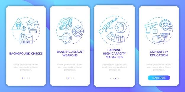 Wytyczne dotyczące bezpieczeństwa broni ciemnoniebieski ekran wprowadzający aplikację mobilną z koncepcjami. kontrola i regulacja broni szablon interfejsu użytkownika w 5 krokach z kolorowymi ilustracjami rgb