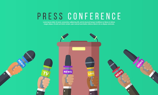 Wywiady są dziennikarzami kanałów informacyjnych i stacji radiowych. mikrofony w rękach reportera. pomysł na konferencję prasową, wywiady, najnowsze wiadomości. nagrywanie kamerą. ilustracja,
