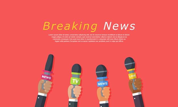 Wywiady są dziennikarzami kanałów informacyjnych i stacji radiowych. mikrofony w rękach reportera. pomysł na konferencję prasową, wywiady, najnowsze wiadomości. nagrywanie za pomocą kamery. ilustracja,