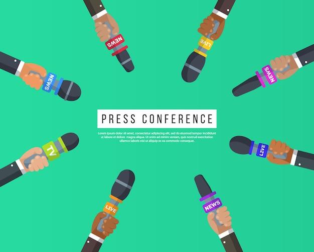Wywiady to dziennikarze kanałów informacyjnych i stacji radiowych. pomysł konferencji prasowej, wywiady, najświeższe informacje. mikrofony w rękach reportera. nagranie kamerą. ilustracja,