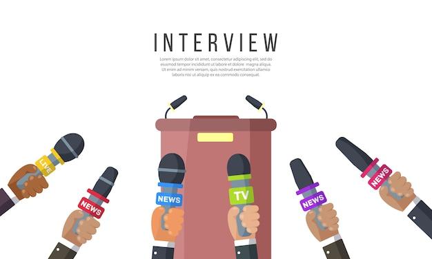Wywiady z dziennikarzami kanałów informacyjnych i stacji radiowych mikrofony w rękach reportera pomysł na konferencję prasową, wywiady, najnowsze wiadomości nagrywanie z kamerą. ilustracja wektorowa, eps 10