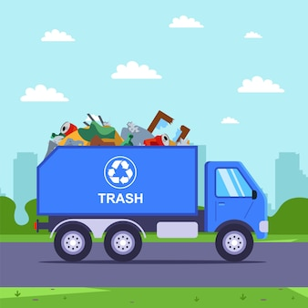 Wywóz śmieci ciężarówką z miasta na wysypisko śmieci.