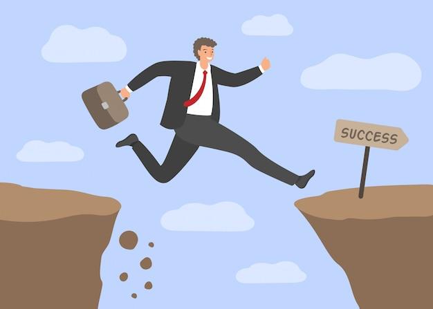 Wyzwania i sukces. biznesmen przeskakując otchłań. pojęcie ryzyka biznesowego, pokonywanie przeszkód w pracy, ciężka droga do sukcesu. ilustracja