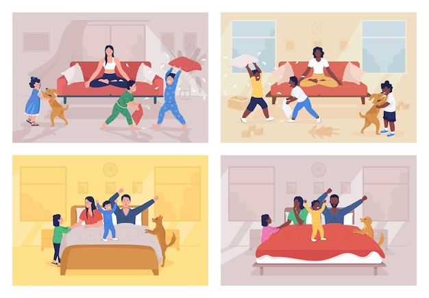 Wyzwania rodzicielskie zestaw ilustracji wektorowych płaski kolor