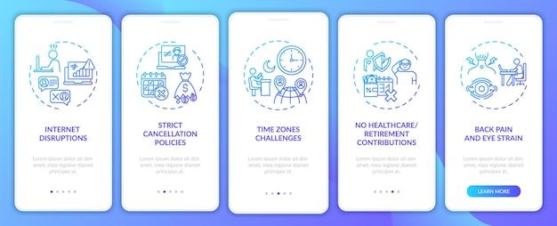 Wyzwania związane z nauczaniem języka angielskiego online, wprowadzające na ekran aplikacji mobilnej z koncepcjami. brak przejścia opieki zdrowotnej 5 kroków. szablon ui z kolorem rgb