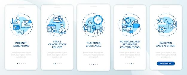 Wyzwania związane z nauczaniem języka angielskiego online, wprowadzające na ekran aplikacji mobilnej z koncepcjami. rygorystyczne zasady anulowania 5 kroków instrukcji graficznych. szablon ui z kolorowymi ilustracjami rgb