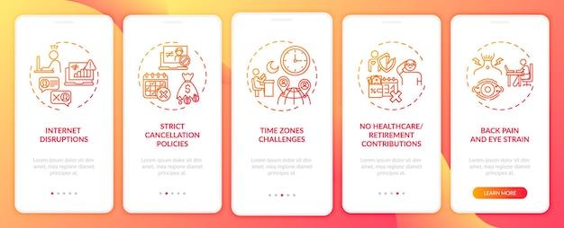 Wyzwania związane z nauczaniem języka angielskiego online wprowadzające na ekran aplikacji mobilnej z koncepcjami. wyzwania stref czasowych - przewodnik po 5-stopniowym szablonie interfejsu użytkownika z kolorowymi ilustracjami rgb