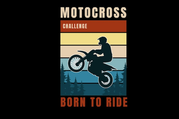 Wyzwanie motocrossowe urodzone do jazdy w kolorze pomarańczowym żółtym i zielonym